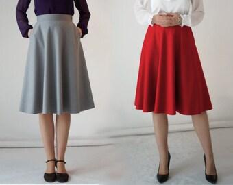 retro midi skirt with pockets, grey, black, circle skirt, red midi skirt, red swing skirt, red circle skirt, high waist skirt,