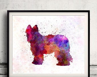Briard 01 in watercolor - Fine Art Print Poster Decor Home Watercolor Illustration Dog - SKU 1442