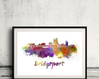 Bridgeport skyline in watercolor over white background with name of city - Poster Wall art Illustration Print - SKU 1570