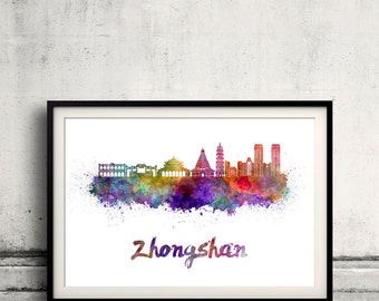 Zhongshan skyline in watercolor over white background with name of city - Poster Wall art Illustration Print - SKU 1670