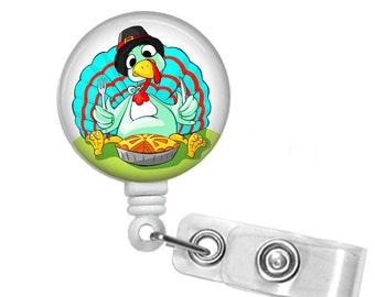 Thanksgiving Turkey eating pie,  ID Badge Holder, Retractable id Badge, Badge reel,