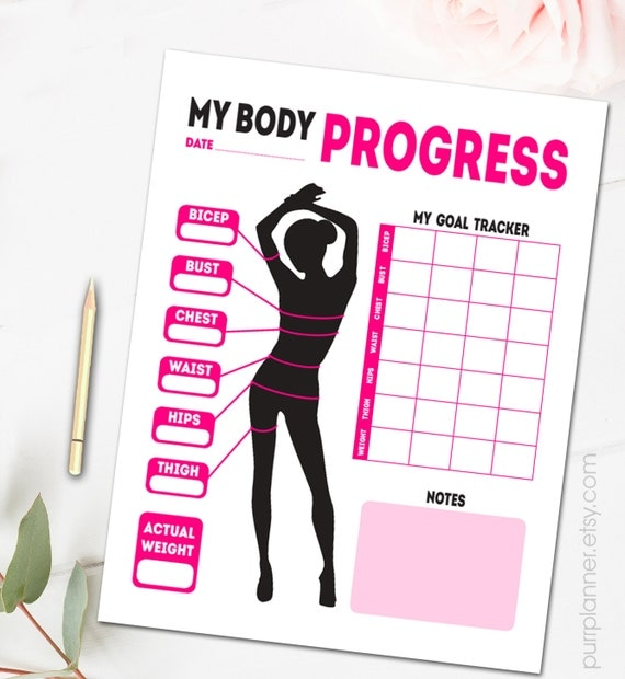 Printable body measurements fitness goal tracker by for Weight loss goals template