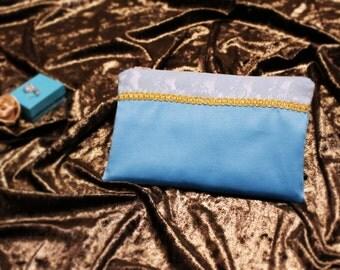 Tiffanys Zipper Pouch - Teal Blue Bridal clutch - Satin and Lace Bidesmaids purse bag - Bride and bridesmaid purse - Wedding clutch