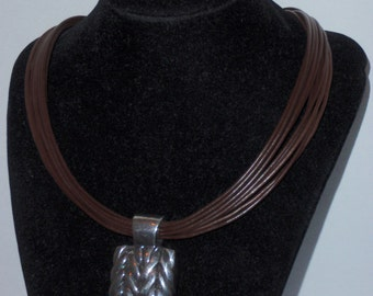 "Sterling Silver SSD Signed For SIMON SEBBAG 18"" Multi-leather Strands Large 1.80"" x 1.20 Slider Size Necklace."