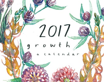 SALE - 2017 Floral Calendar - GROWTH // botanical hanging wall calendar