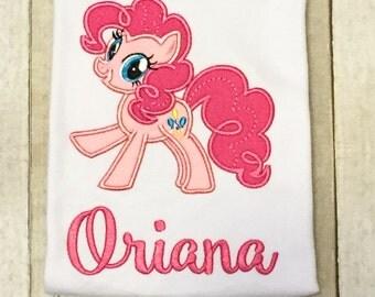 My Little Pony Shirt or Bodysuit - Pink Pony Shirt - Pinkie Pie Pony - Monogram Pony Shirt