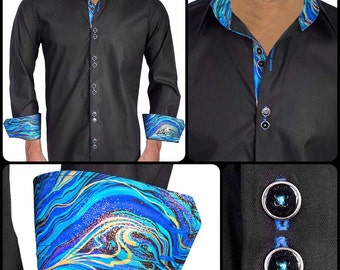 Black with Blue and Gold Metallic Designer Dress Shirt - Made in USA