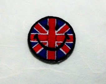 Union Jack Flag Smiley Face Iron on Patch - Union Jack Flag Applique Embroidered Iron on Patch/ Union Jack Flag  Patch