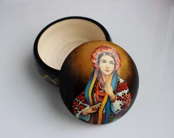 Folk art Ukrainian Hand-painted Trinket wooden box for jewelry Ukraine souvenir gift Ukrainian Girl