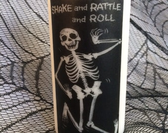 Shake Rattle and Roll Skeleton Pillar Candle