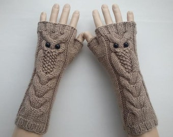 EXPRESS SHİPPİNG!Mink Color Owl Hand-Knitted Fingerless Gloves/Winter Accessories/ReyyanCrochet