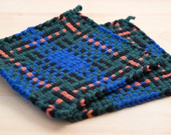 Blue and Green Large Loom Woven Plaid Potholder, hot pad, or trivet