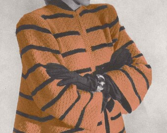 Hialeah Knit Swing Coat Vintage Knitting Pattern PDF Digital Download Sweater Cardigan