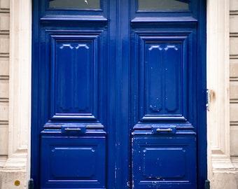 """Paris Photography, Color Photography, Paris Architecture, paris door, french door, Blue, """"Royal Blue Door"""""""