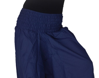 Plain Harem Pant Cotton Dark Blue