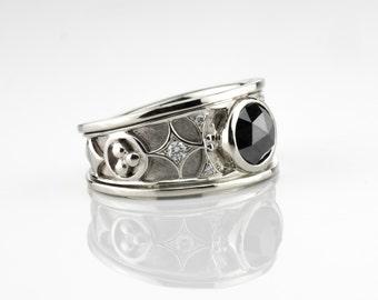 Black Diamond ring, engagement diamond ring, black diamond ring, rose cut black diamond, lady diamond ring, diamond wedding band, diamonds