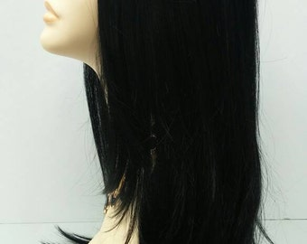 Long 24 inch Off Black Straight Lace Front Wig with Premium Heat Resistant Fiber. [47-251-Dana-1B]