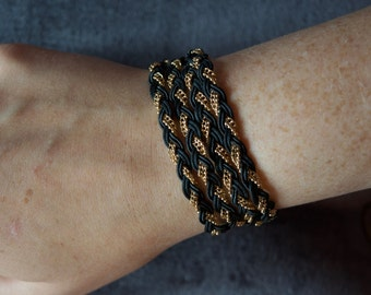 Braided Cord and Chain Wrap Bracelet