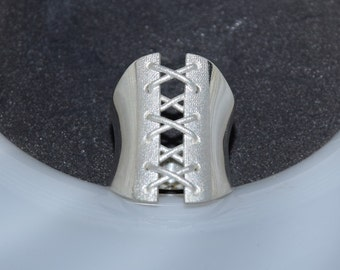 Corset BDSM Ring, Solid Silver Ring, BDSM Jewelry, Bdsm ring, 3D Women Ring, Bondage Ring, BDSM Jewelry, Women Sexy Ring, Wide Stack Ring