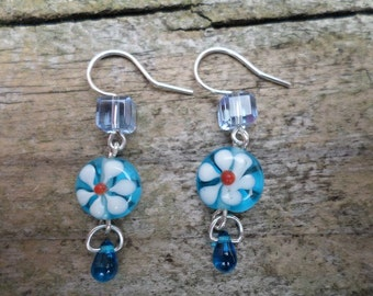 White Flower On Blue Lampwork Beads With Cube and Drop Beads On Sterling Silver Earrings