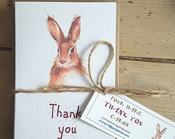 Four thank you cards. Hare watercolour. Multipack of thank you cards. Original image. Hand made cards. Recycled paper