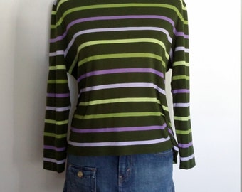 Talbots top, summer top, 70's top, striped top, sporty top, XL, green striped top, purple top, cotton top, long sleeve top