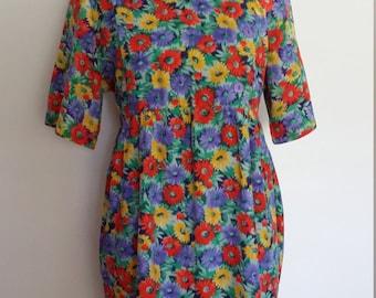 Floral 80's dress, M, floral dress, summer dress, red dress, purple dress, maternity dress, colorful dress