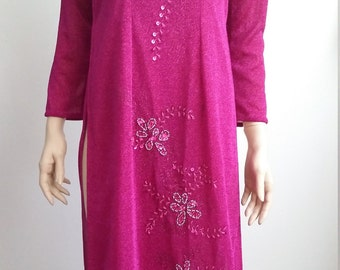 Pink cheongsam, S, M, pink gown, Asian gown, Asian dress, Chinese dress, cheongsam dress, pink dress
