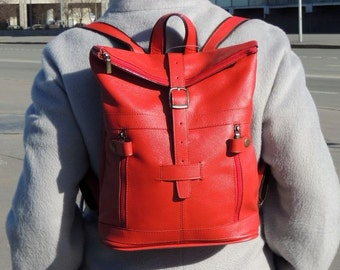 """Red leather backpack """"Spring"""""""
