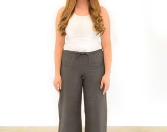 Charcoal grey linen pants with elasticated waist