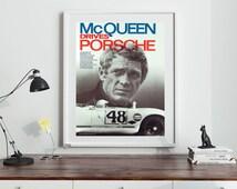 Porsche Steve McQueen Porsche Poster Print