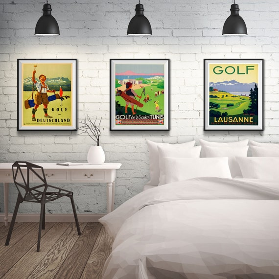 Office Pictures For Walls Golf: Golf Posters Golf Gifts Golf Wall Art Set Of 3 Vintage Golf