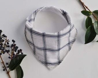 Plaid Bandana Bib-White & Blue
