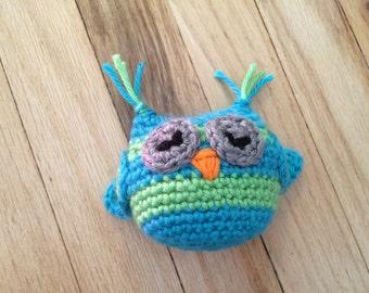 crocheted owl rattle, crocheted owl, small owl