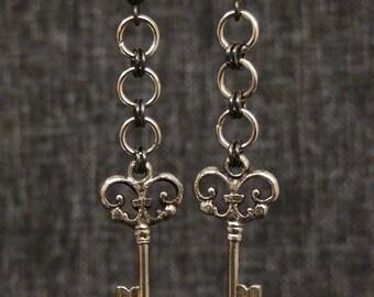 Silver and gunmetal steampunk ornate key earrings chain dangle handmade jewelry