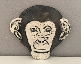 Ceramic raku Bas relief monkey, wall decoration