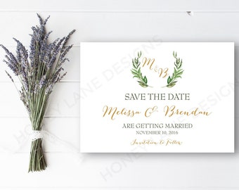 Personalised Printable, Save-the-Date-Printable Card - Melissa Collection