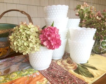 Vases Milk Glass Vases Milk Glass Bowl Milk Glass Planter Hobnail Glass White Vases Wedding Centerpieces Wedding Vases Planter Pot Sold Each