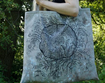 Silvula - large tote bag, rainy grey, handsewn and handpainted, with lining and inside pocket, eco fashion, herbal