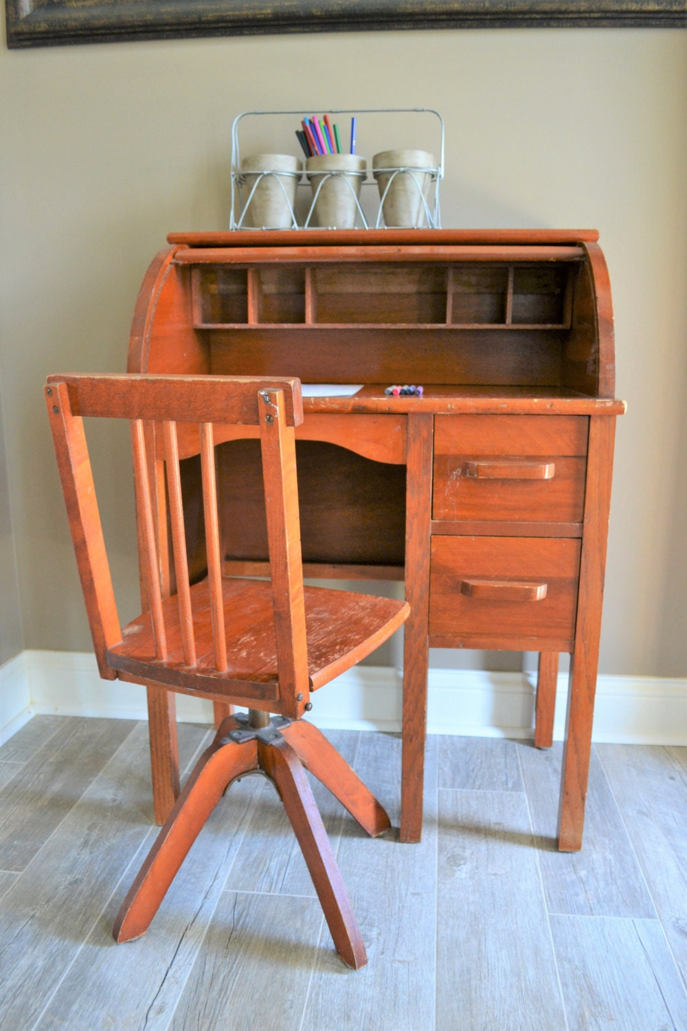 Vintage Children S Roll Top Desk With Swivel Chair