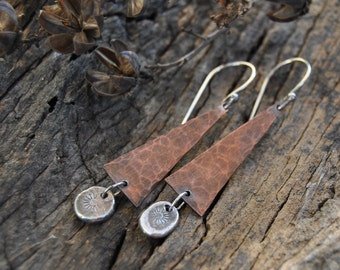 Hammered Copper Earrings, Copper Dangle Earrings, Mixed Metal Earrings, Rustic Copper, Artisan Earrings
