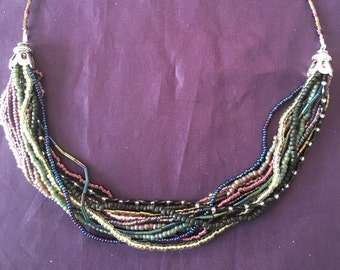 Multi Strand Beaded Necklace, Handmade Hobo Style Necklace, Bronze Necklace