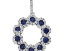 Sapphire & Diamond Swirl Pendant 14k White Gold - Sapphire Pendants for Women - Sapphire Necklace - Gifts for Her - Anniversary
