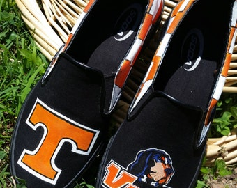 Hand Painted Tennessee Volunteers Vols Checkered Smokey Rocky Top Slip On Shoes