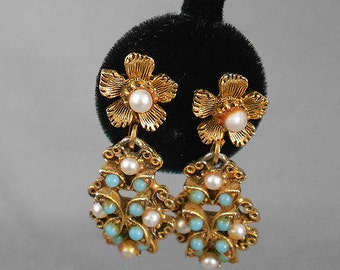 1960s Signed FLORENZA Baroque Style Filigree DANGLE Clip Earrings with PEARLS and Turquoise Cabochons, Fabulous Vintage Mid Century Earrings