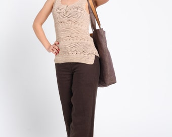 ON SALE Brown linen trousers/ pants. Ready to ship. Beachwear. Free delivery in Europe.