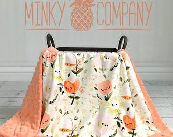 Baby Blanket - Happy Flowers - Designer Minky - Papaya