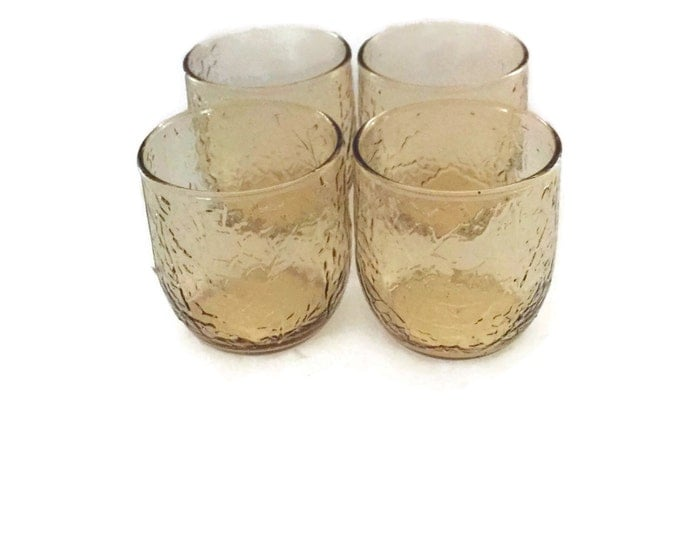 Vintage Anchor Hocking Amber Glassware in the Sherwood Pattern, Vintage Juice Glasses Cocktail Glasses