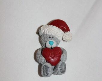 Christmas Teddy bear gift, handmade New Year Brooch from polymer clay gift, jewelrylimanska