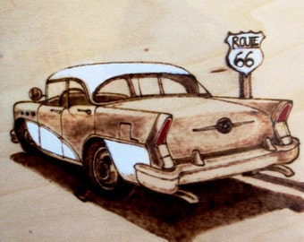 BUICK roadmaster 1955.PYROGRAPHY on wood. ROUTE 66. Signed.Rockabilly. Fifties